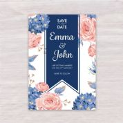 Hydrangea & Rose - Save The Date